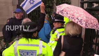 UK: Protesters burn Israeli flags as clashes break out in London