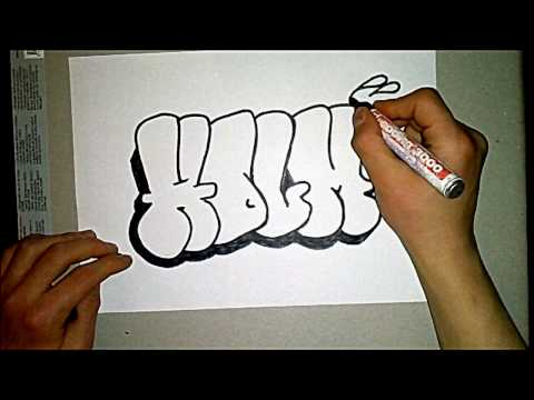 How to draw a easy throwie/ graffiti #1