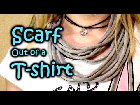 DIY How to Make Scarf out of T-shirt - No-sew Multi-Strand Scarf in 5 minutes