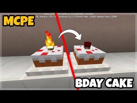 Minecraft PE: Birthday Cake with Working Candle Tutorials