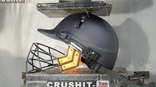 Crushing Cricket Helmet with Hydraulic Press!