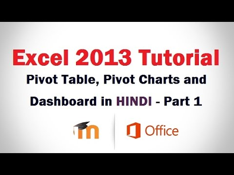 Pivot Table, Pivot Charts and Dashboard in Excel 2013 in HINDI - Part 1
