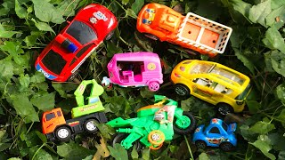 Searching & Finding Toy Vehicles in green bushes around the village house