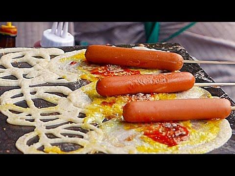Thailand Street Food - THAI SNACKS Hot Dog Egg Cheese Bangkok