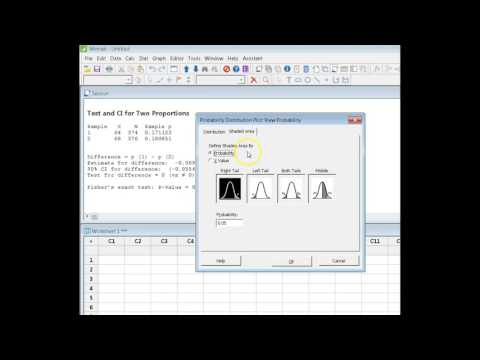 Finding values for the t-distribution in Minitab