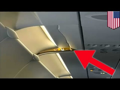 Plane accident: American Airlines flight ceiling cracks when turbulence sends man flying - TomoNews