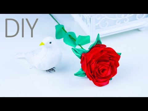 How to make a rose flower | DIY satin ribbon rose  for home decor| Beads art