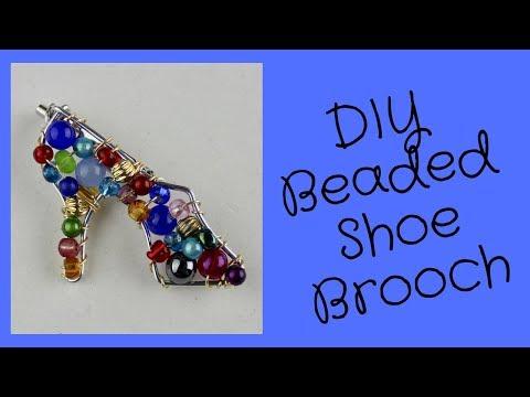 DIY Beaded High Heel Shoe Brooch