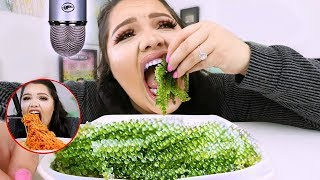 Download i Tried ASMR..Eating Sea Grapes, Spicy Noodles, Balloons (Sticky Crunchy Sounds) Video
