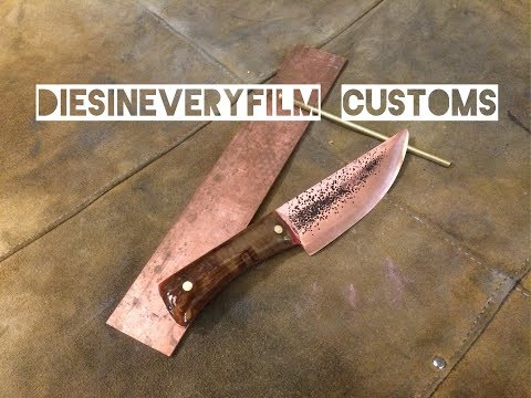 Copper knife with maple burl handle