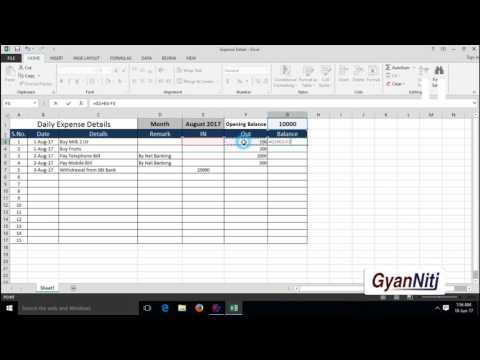 How to Maintain Daily Expenses in Excel | Expenses Record Maintain in Excel