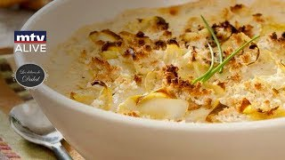How to prepare the Artichoke Gratin with Mornay sauce & the Orzo vegetable salad
