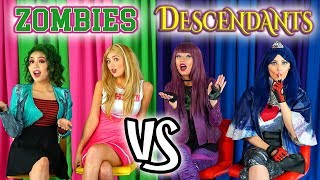 Zombies vs Descendants Catchphrase Challenge. Addison and Eliza vs Mal and Evie Dress Up.
