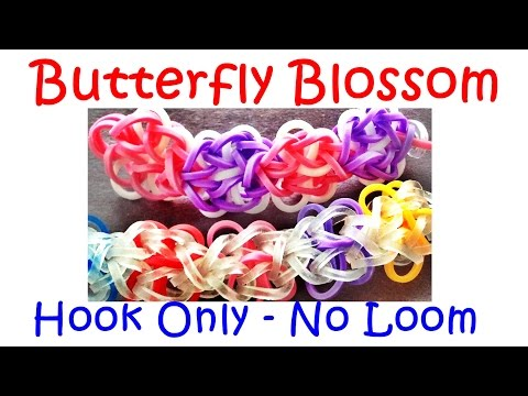 Loom Bands Bracelet Butterfly Blossom - how to make without the Rainbow Loom / Hook Only
