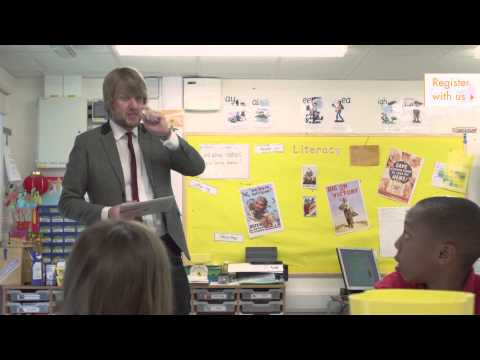 Mr Dan Huxley, primary school teacher in action