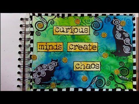 Mixed Media Art Journal Page - Curious Minds - Art Journaling