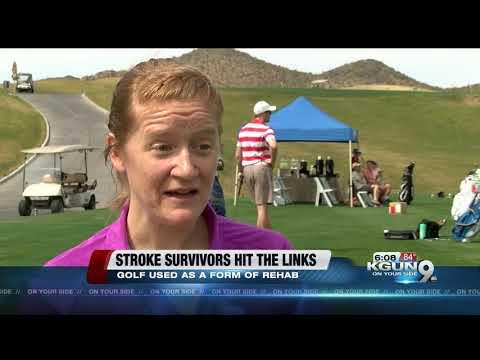 Stroke survivors work on their golf strokes for rehabilitation