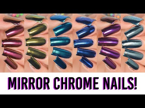 A Rainbow of MIRROR CHROME Powder Nails! 6 NEW Colors!