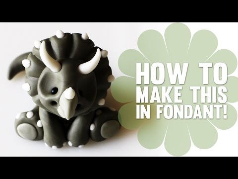 How to Make a Baby Dinosaur Triceratops in Fondant - Cake Decorating Tutorial