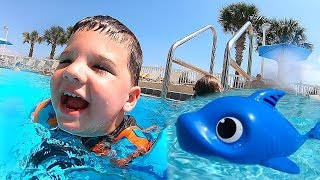 Download Kids Swimming With Baby Shark Toys in GIANT Swimming Pool! Caleb Pretend Play Video