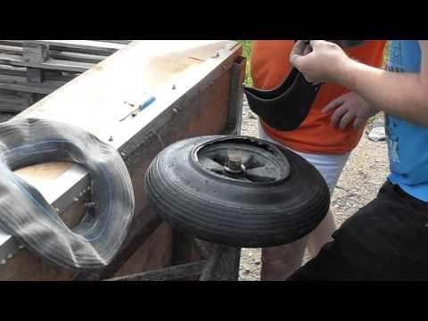 Replacing a wheelbarrow tire