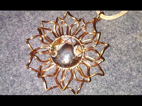 Copper sunflowers pendants -  wire wrap jewelry design 114