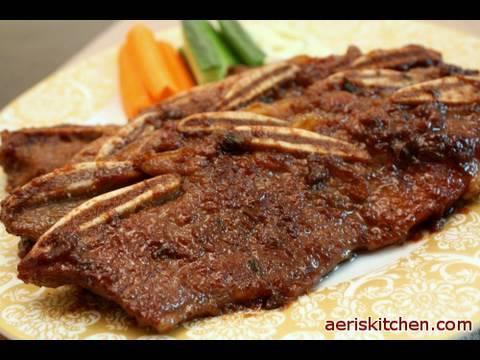 【Korean Food】 Grilled Beef Ribs ( 소 갈비=So GalBi )