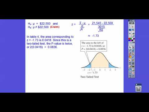 Hypothesis Testing for the Mean (S.D.  Known) - Section 7.2 (Part 2)
