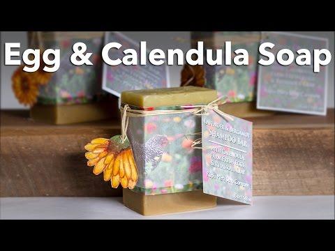 Egg and Calendula Shampoo Bar Soap with Rhassoul Clay