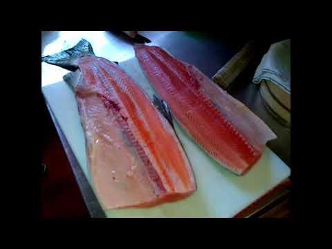 How to make Salmon Sashimi - How to cut Salmon