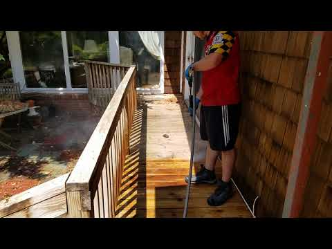 How to clean decks and cedar shakes.  This is after we have applied our cleaning solution