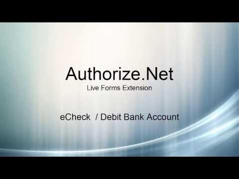 Authorize.Net: Live Forms Extension - eCheck