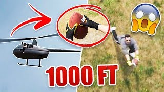 Can You Catch A Football Dropped from A Helicopter 1,000  Feet In The Air?? **WORLD RECORD ATTEMPT**