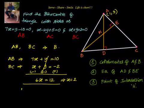 Coordinate Geometry: Finding orthocenter of a triangle given equations of the sides