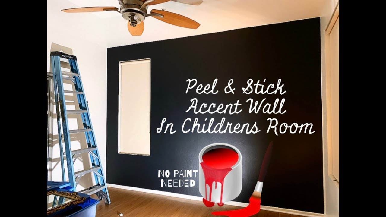 Peel & Stick Black Accent Wall In Childs Room   DIY
