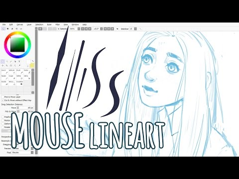 Lineart With a MOUSE ‌• Paint Tool SAI Tutorial