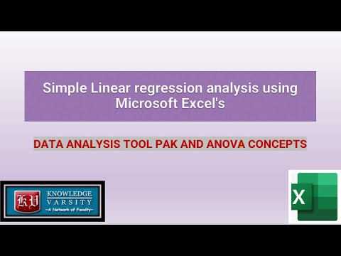 Simple Linear regression analysis using Microsoft Excel's data analysis toolpak and ANOVA Concepts