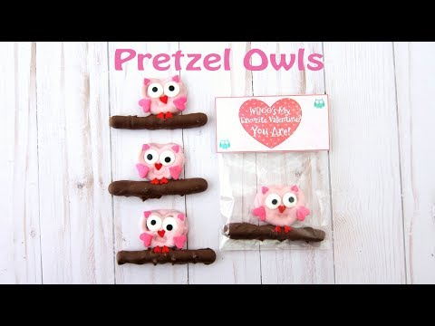Pretzel Owls with Printable Valentine Bag Toppers
