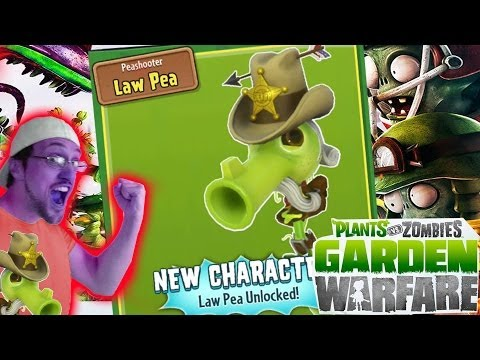 LAW PEA Unlocked! New Sheriff  In Town! Gardens & Graveyards Gameplay (PVZ Garden Warfare)