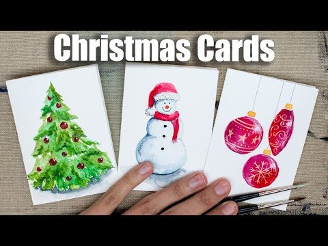 Watercolor Christmas Cards Tutorial, Speed Painting
