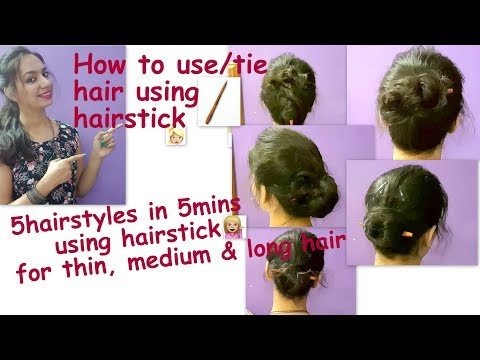 How to use hairstick |5hairstyles in 5min for thin,medium, long hair with hair stick|| Glad To Share