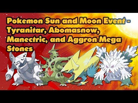 Pokemon Sun and Moon Event - Tyranitar, Abomasnow, Manectric, and Aggron Mega Stones