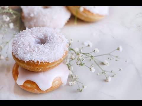 How to make Coconut Mini Doughnut ♥ Baked-Petit Coconut Donuts
