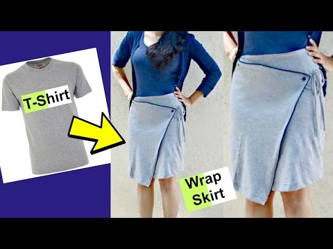 DIY: Convert old T-shirts into Wrap Around Skirts | Asymmetrical Skirt