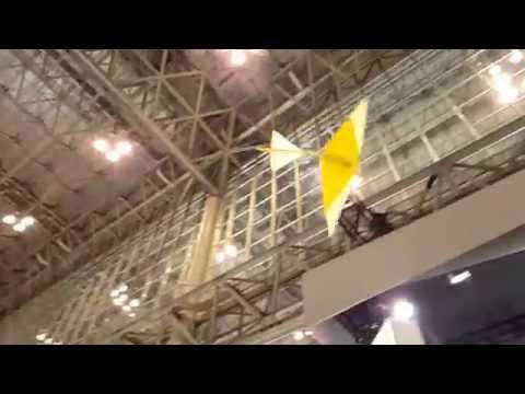 Rohm origami crane flying (slow motion) @geeks.hu