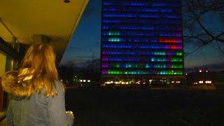 A giant of a game - Tetris on a 14-floor building