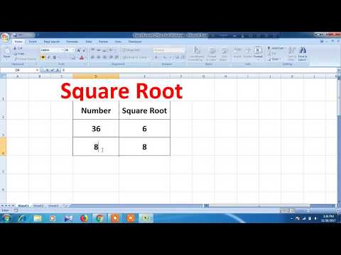 How to use square root in Excel