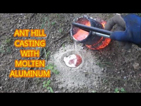 Ant Hill Casting Molten Aluminum