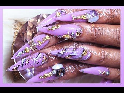 Purple Versace Mermaid Acrylic Full Set