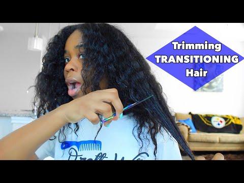 Trimming My TRANSTIONING Hair!